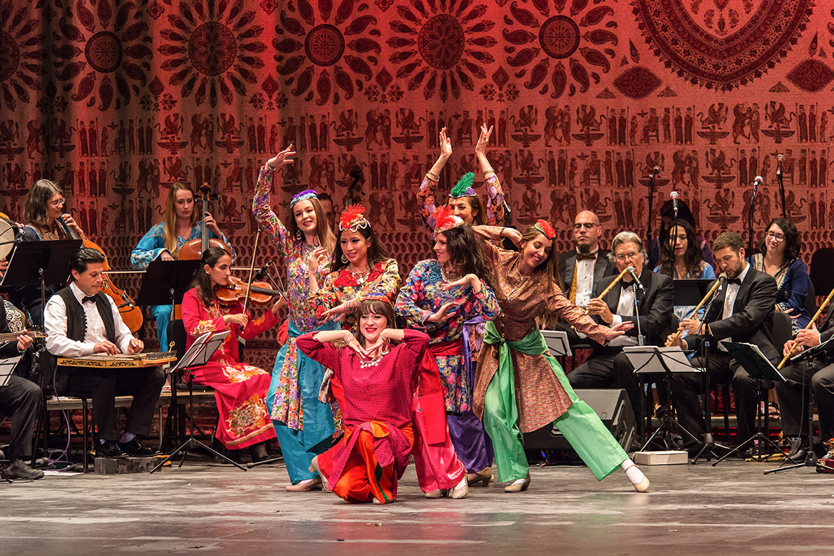 Middle Eastern Music Association dancers and musicians on stage